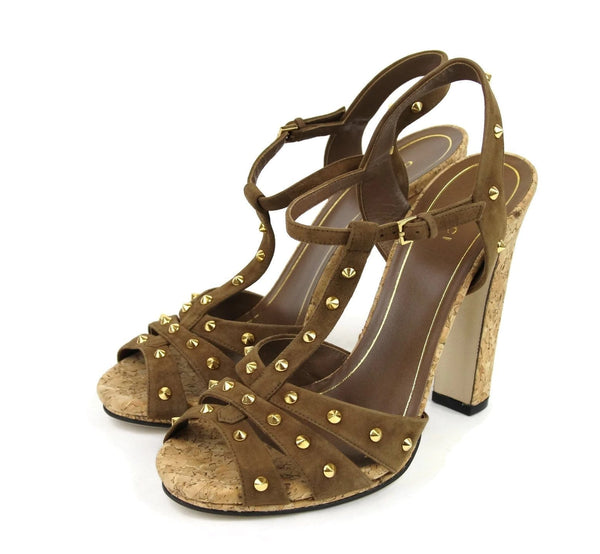 Gucci Women Brown Suede Jacquelyne Gold Studs Sandals