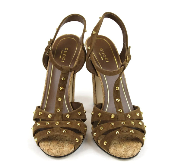 Gucci Women Brown Suede Jacquelyne Gold Studs Sandals - Gucci shoes