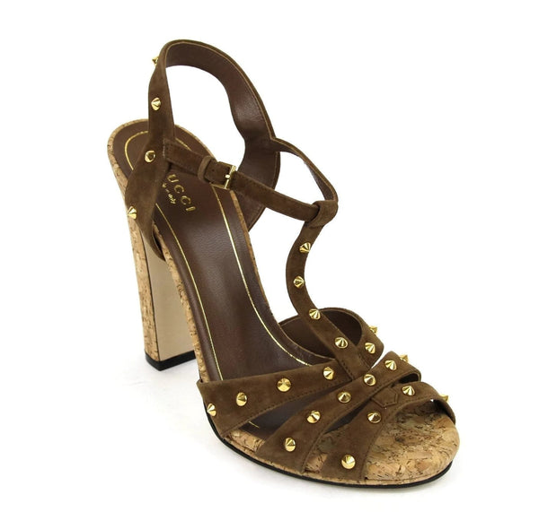 Gucci Women Brown Suede Jacquelyne Gold Studs Sandals - side view