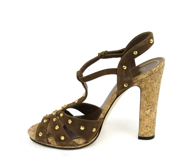 Gucci Women Brown Suede Jacquelyne Gold Studs Sandals - Gucci Sandals