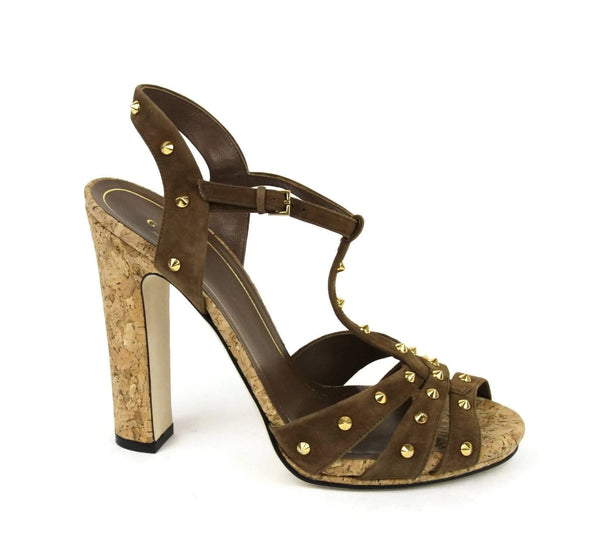 Gucci Sandals Women Brown Suede Jacquelyne Gold Studs - bottom view