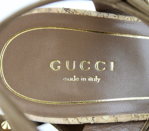 Gucci Sandals Women Brown Suede Jacquelyne Gold Studs - gucci women