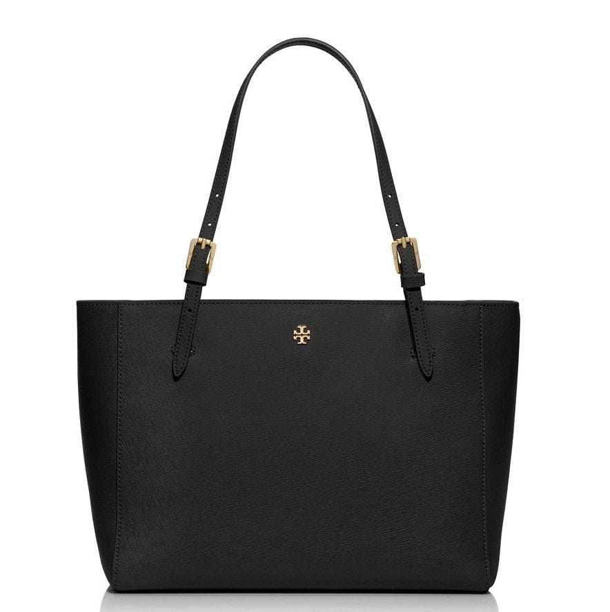 76c9708fd TORY BURCH York Black Leather Tote Small Bag