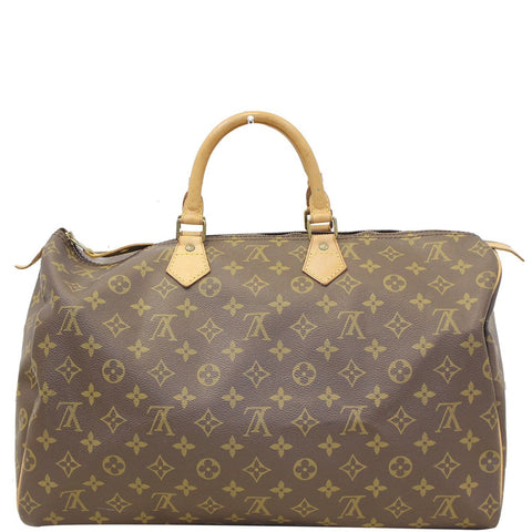 LOUIS VUITTON Monogram Canvas Speedy 40 Brown Satchel Bag