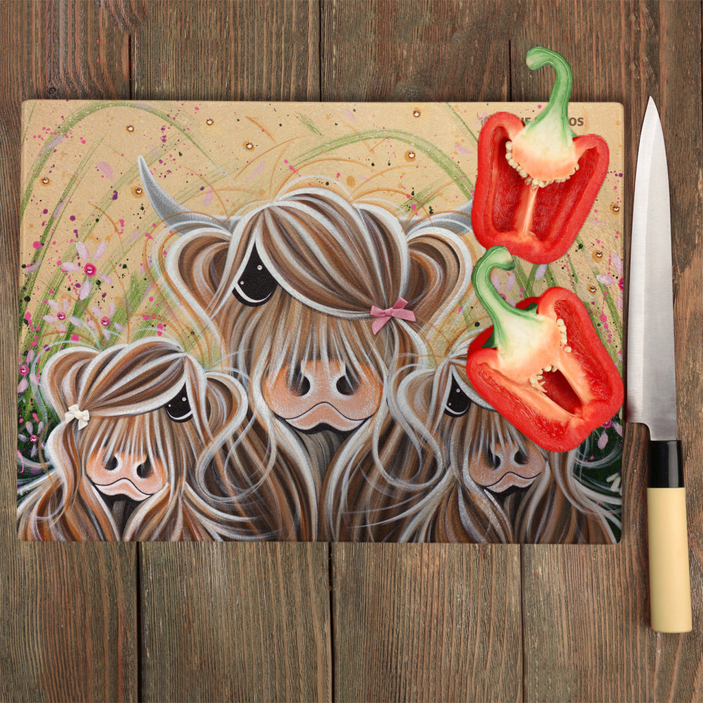 Jennifer Hogwood, The McMoos, Bow Peeps - Glass Chopping Board