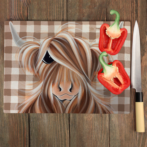 Jennifer Hogwood, The McMoos, Check Moo Out - Glass Chopping Board