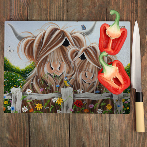 Jennifer Hogwood, The McMoos, Country Love - Glass Chopping Board