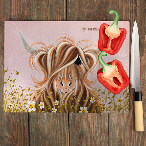 Jennifer Hogwood, The McMoos, Daisy - Glass Chopping Board