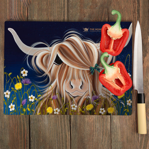 Jennifer Hogwood, The McMoos, Evening Highland - Glass Chopping Board