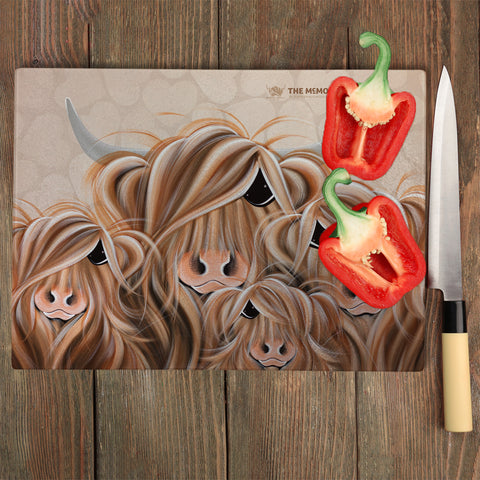 Jennifer Hogwood, The McMoos, Fa-Moo-Ly Forever - Glass Chopping Board