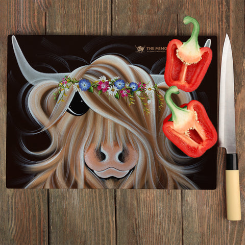 Jennifer Hogwood, The McMoos, Flora - Glass Chopping Board