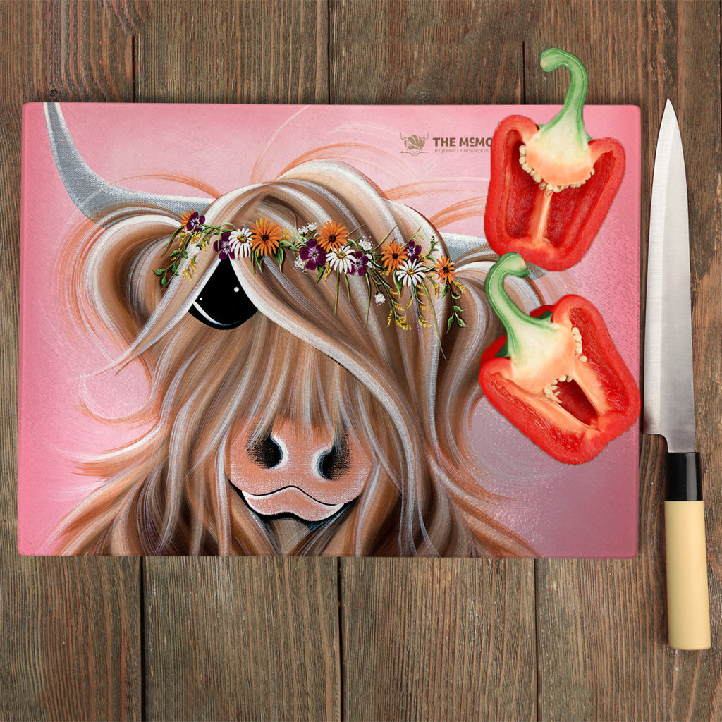 Jennifer Hogwood, The McMoos, Flower Girl - Glass Chopping Board