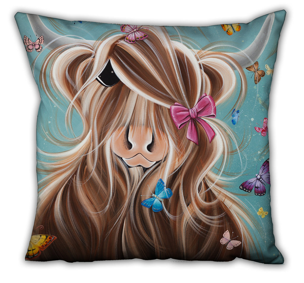 Jennifer Hogwood, The McMoos, Fluttering Around Moo - Suede Cushions