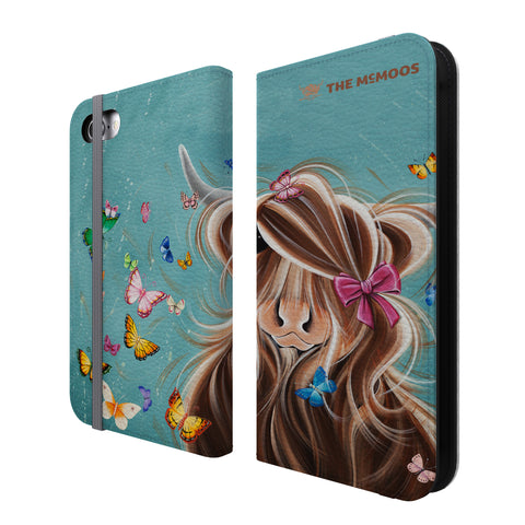Jennifer Hogwood, The McMoos, Fluttering Around Moo - Folio Wallet Phone Case