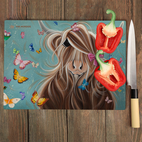 Jennifer Hogwood, The McMoos, Fluttering Around Moo - Glass Chopping Board