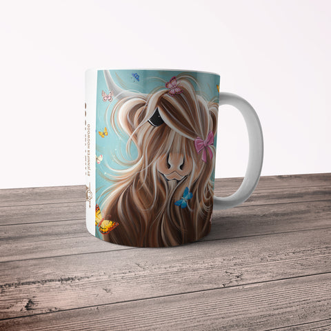 Jennifer Hogwood, The McMoos, Fluttering Around Moo - 11oz Ceramic Mug
