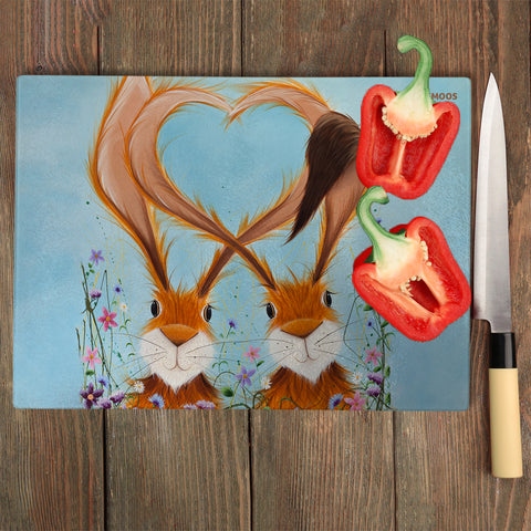 Jennifer Hogwood, The McMoos, Hares In Love - Glass Chopping Board