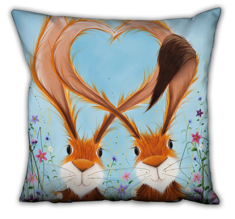 Jennifer Hogwood, The McMoos, Hares In Love - Suede Cushions