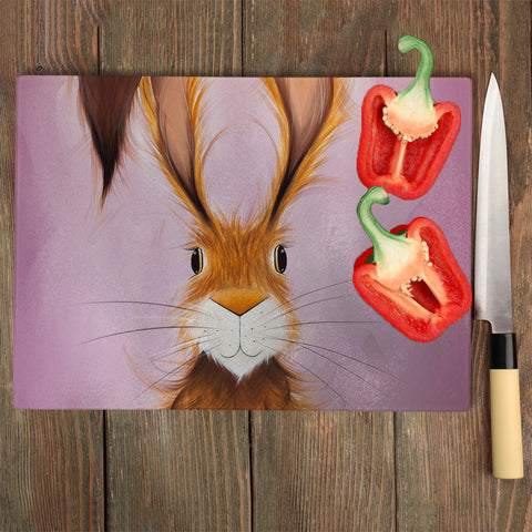 Jennifer Hogwood, The McMoos, Hatty Hare - Glass Chopping Board