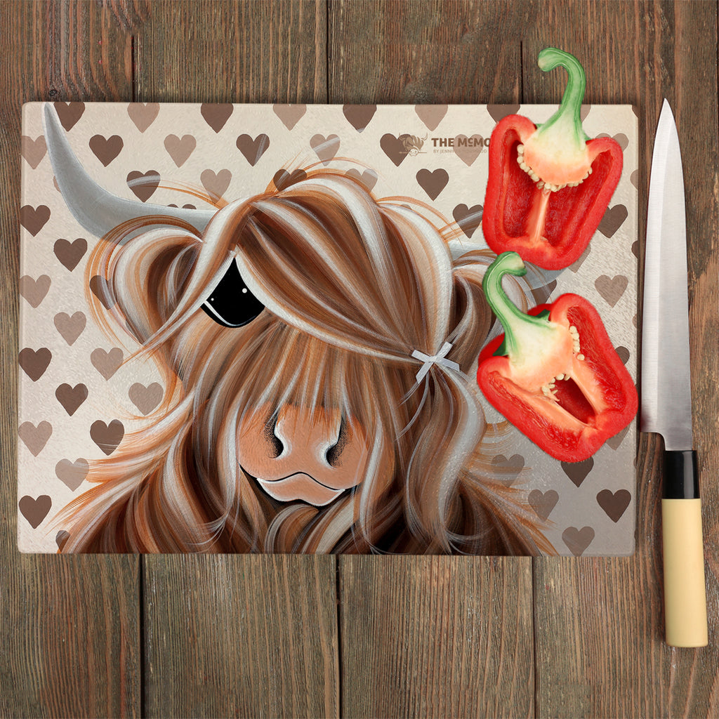 Jennifer Hogwood, The McMoos, I Love Moo - Glass Chopping Board