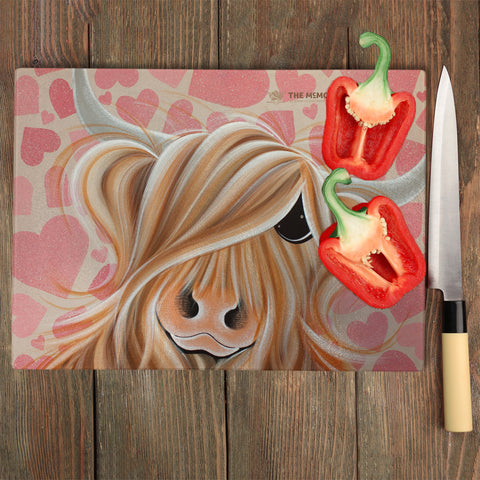 Jennifer Hogwood, The McMoos, Little Miss Love - Glass Chopping Board