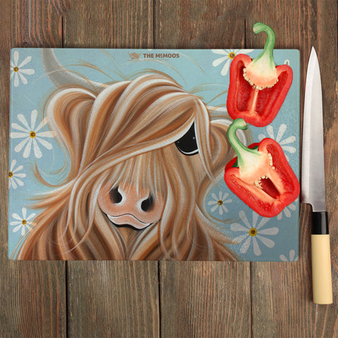 Jennifer Hogwood, The McMoos, Little Miss Daisy - Glass Chopping Board