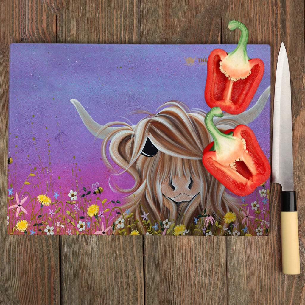 Jennifer Hogwood, The McMoos, Moo On A Summers Evening - Glass Chopping Board