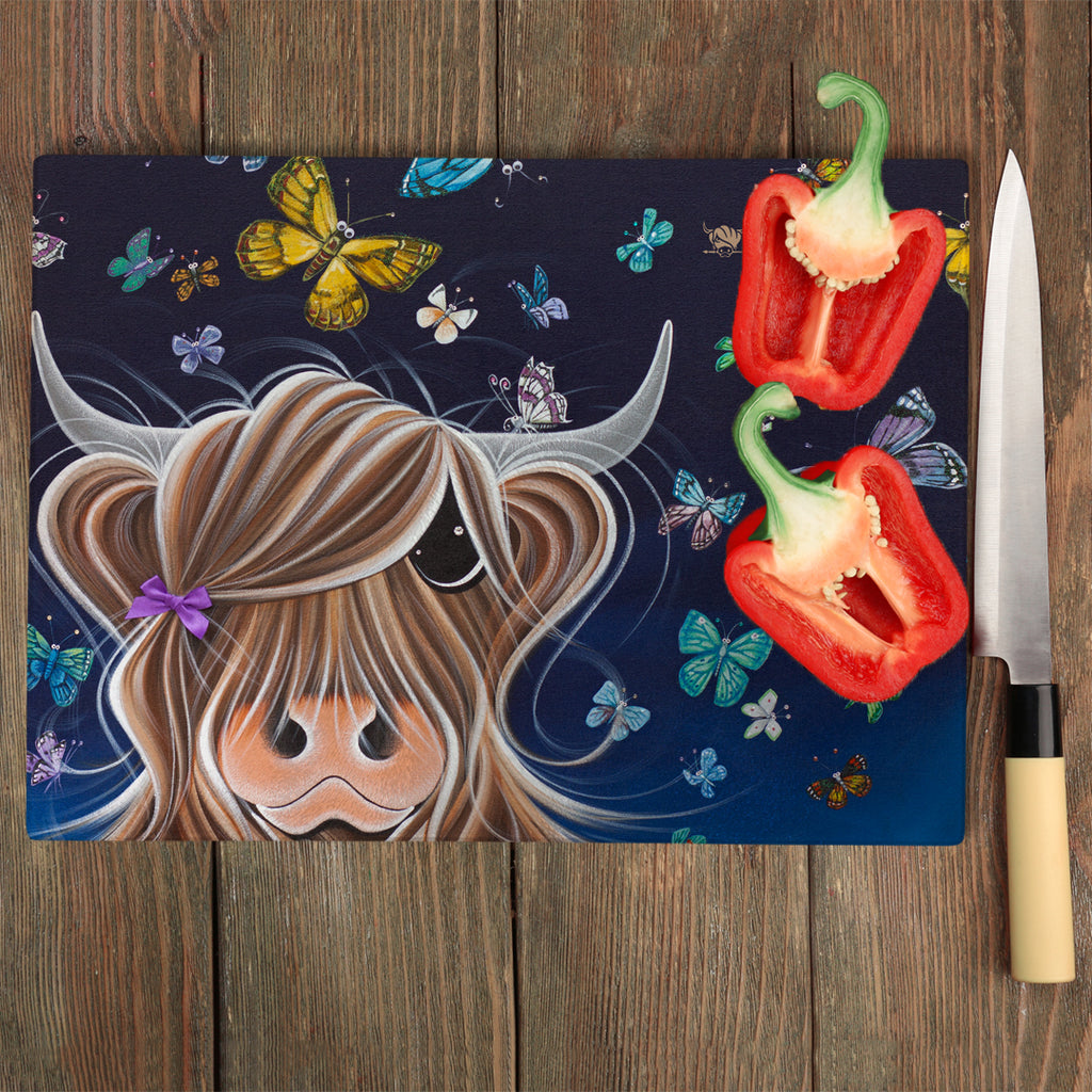 Jennifer Hogwood, The McMoos, Night Flight - Glass Chopping Board