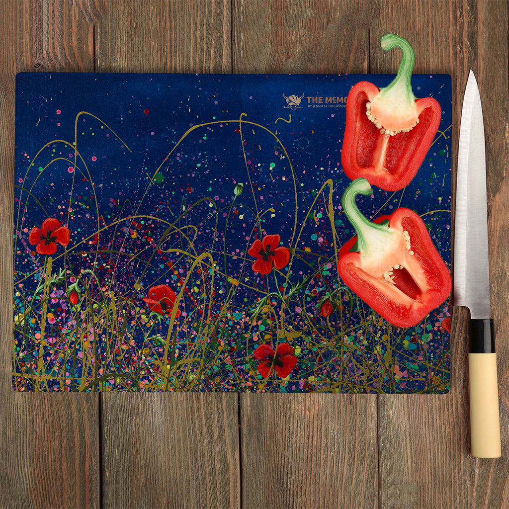 Jennifer Hogwood, The McMoos, Poppy Evening - Glass Chopping Board