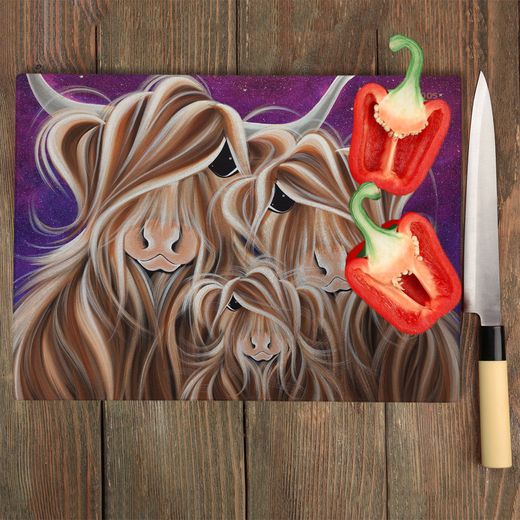 Jennifer Hogwood, The McMoos, Stars In The Highland - Glass Chopping Board