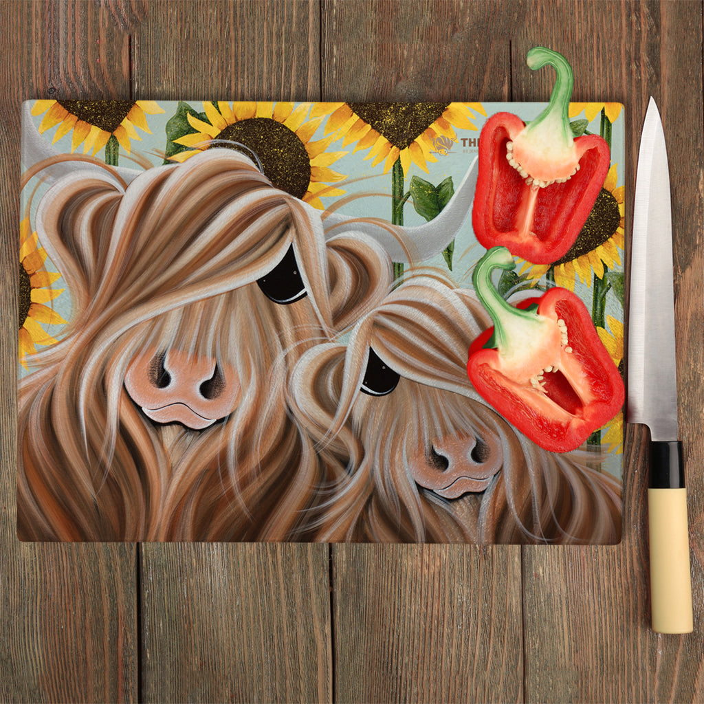 Jennifer Hogwood, The McMoos, Sunshine Of My Life - Glass Chopping Board