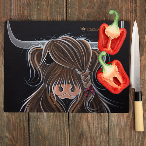 Jennifer Hogwood, The McMoos, Tied To My Clan - Glass Chopping Board