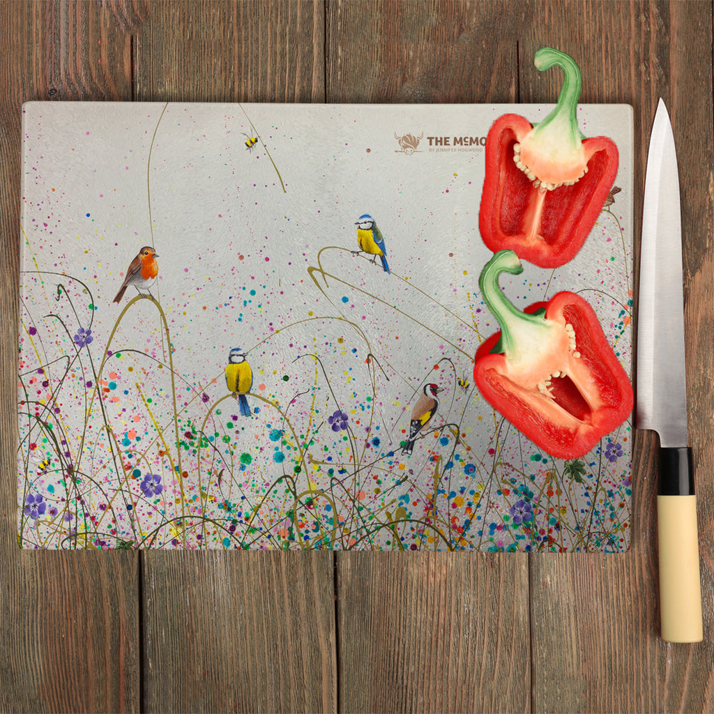 Jennifer Hogwood, The McMoos, Wild Meadow - Glass Chopping Board