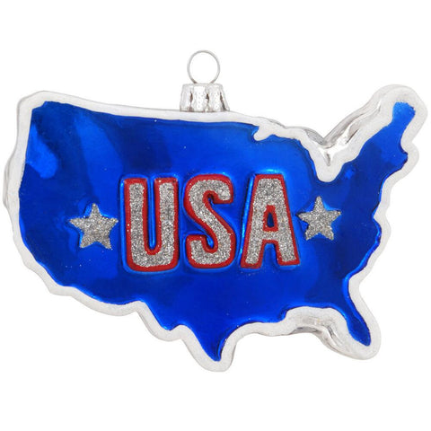 USA Shaped Glass Ornament