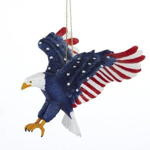 Patriotic Stars and Stripes American Bald Eagle Christmas Ornament