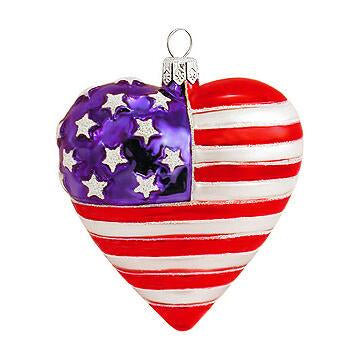 Heart Shaped American Flag Ornament
