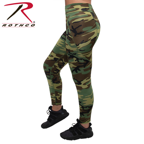 Rothco Womens Workout Performance Camo Leggings With Pockets - Woodland Camo