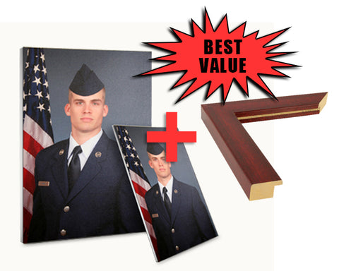 "COMBO: Airman's Portrait Canvas and Frame 24"" x 36"""