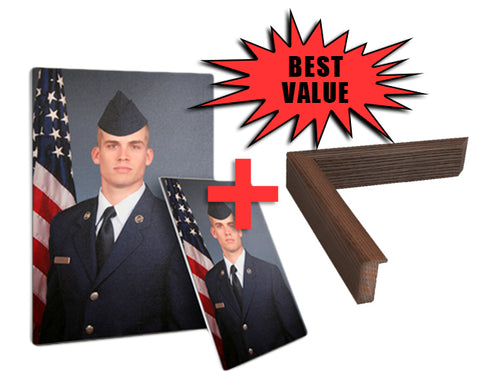 "COMBO: Airman's Portrait Canvas and Frame  12"" x 16"""