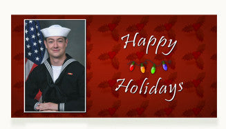 Navy Happy Holidays Cards