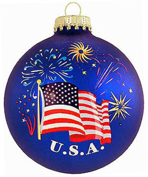 U.S.A. Flag And Fireworks Christmas Ornament