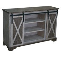Two-Tone Grey Sliding Door Media Console