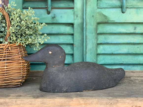 Black Wooden Duck Decoy with Metal Eyes