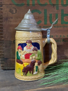 Vintage German Stein with Dogs