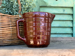 Vintage Brown Pottery Pitcher Made in USA