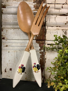 Vintage Wood and Ceramic Rooster Spoon and Fork Set