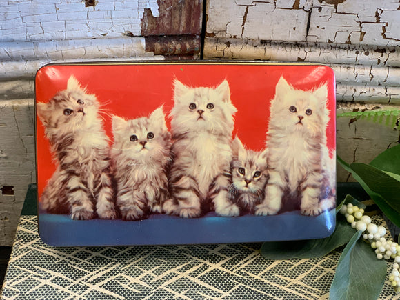 Vintage Toffee Tin with Cats