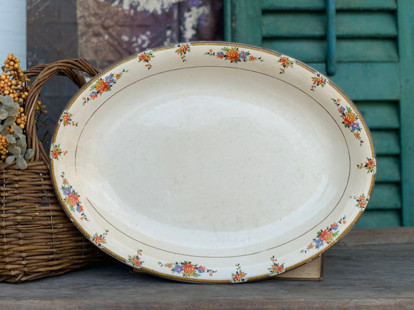 Vintage English Ironstone with Floral and Crazing