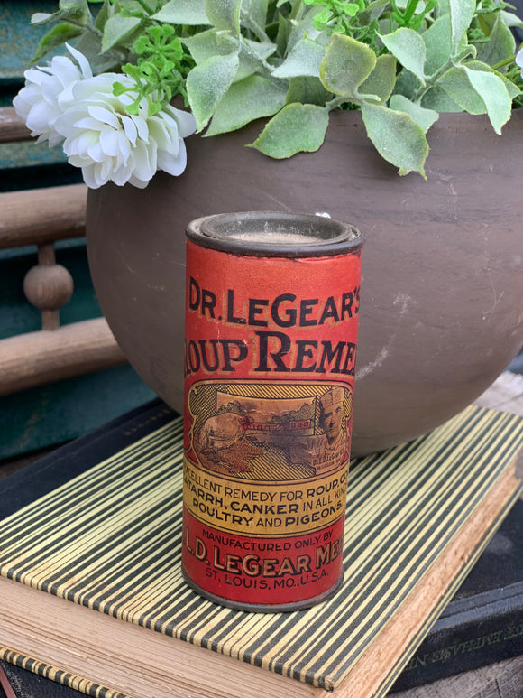 Vintage Dr. Legear's Roup Remedy Tin