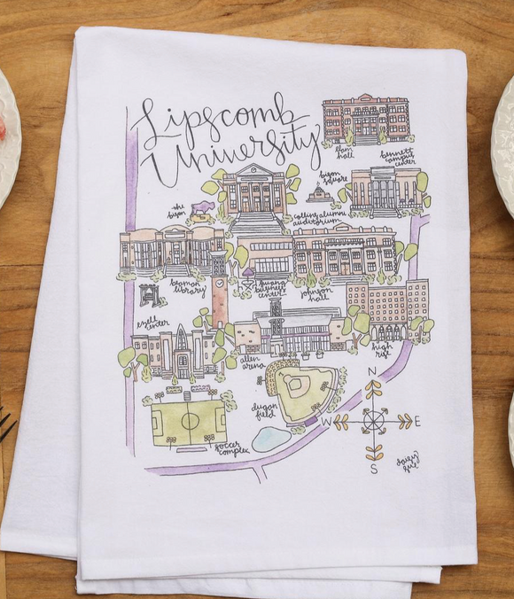 Lipscomb University Map Tea Towel